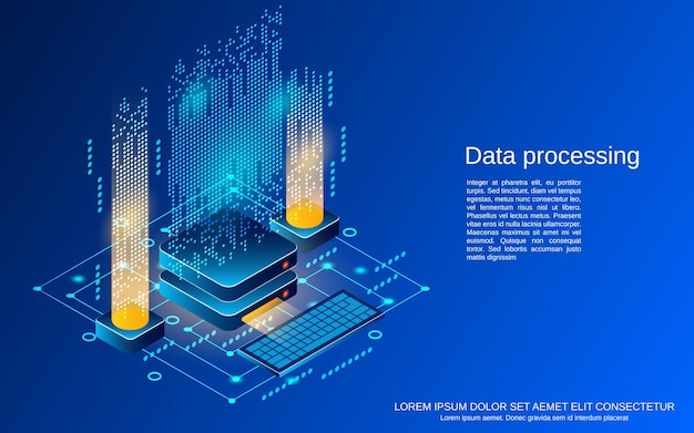 Illustrazione di concetto di vettore isometrico 3d piatto di elaborazione dati