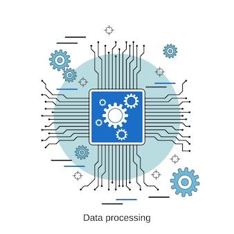 Illustrazione di concetto di vettore di stile di design piatto di elaborazione dati