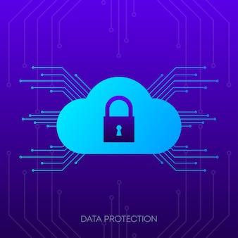 Banner di protezione dei dati icona astratta informazioni sul sito web tecnologia informatica di rete