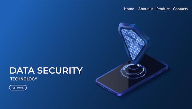 Concetto di protezione dei dati illustrazione vettoriale di sicurezza informatica tecnologia per la privacy mobile protezione vpn