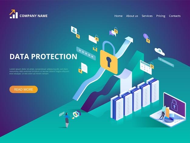 Illustrazione del concetto di protezione dei dati per la pagina di destinazione