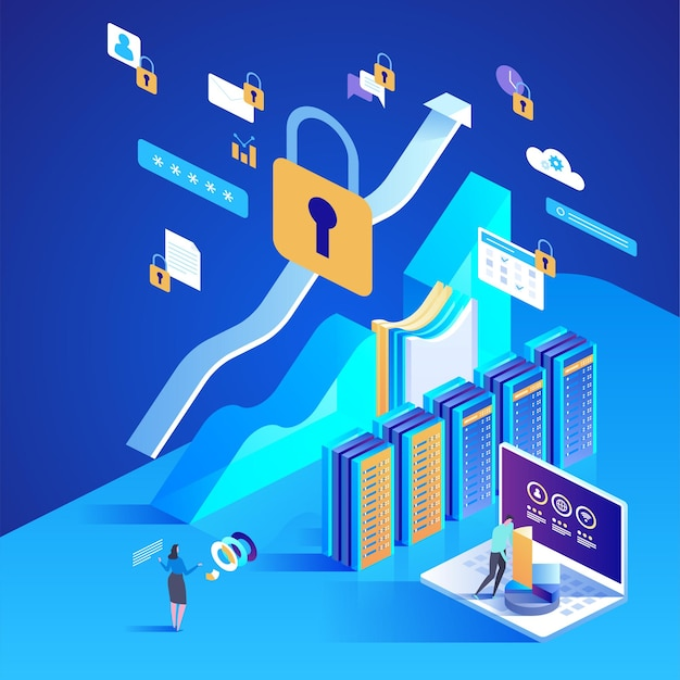 Concetto di protezione dei dati. illustrazione isometrica per pagina di destinazione, web design, banner e presentazione.