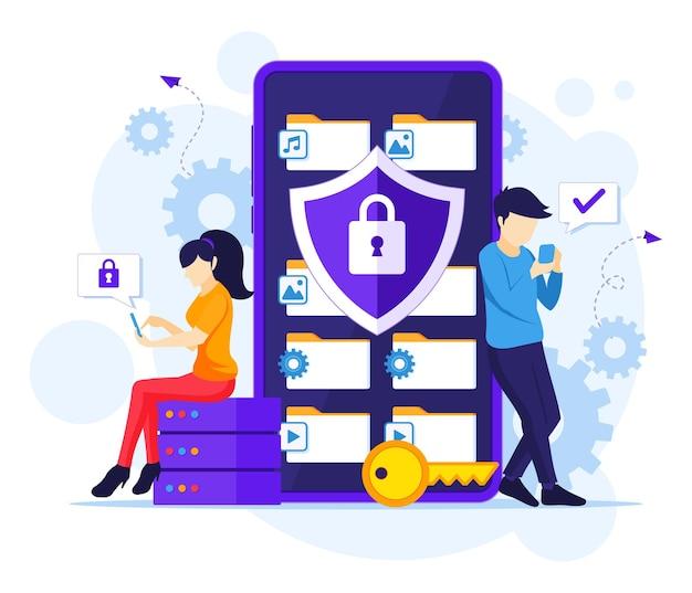 Concetto di protezione dei dati, persone che proteggono dati e file su un'illustrazione gigante di smartphone