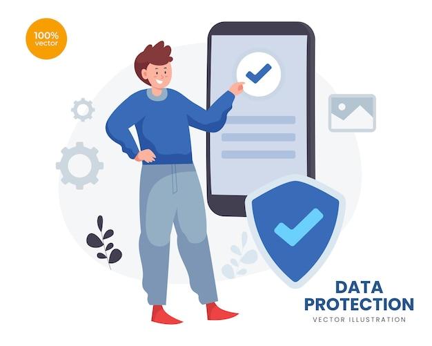 Concetto di protezione dei dati con l'uomo d'affari per la tecnologia di sicurezza con lucchetto e scudo simbolico.