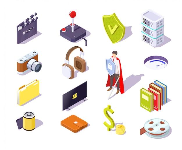 Il concetto di protezione dei dati con i simboli di sicurezza delle informazioni e dello schermo vector l'illustrazione