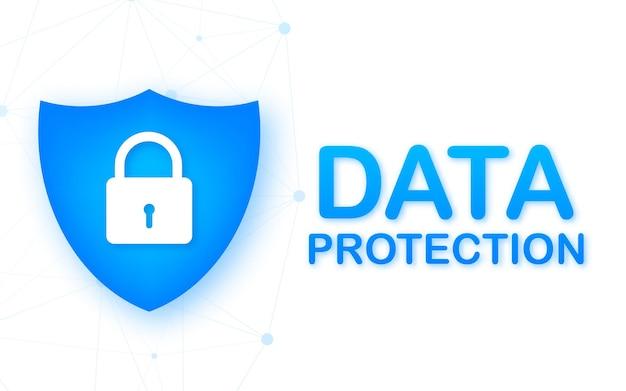 Data center per la protezione dei dati. tecnologia internet. tecnologie dell'informazione. illustrazione di riserva di vettore.