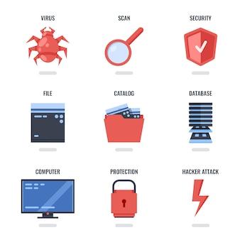 Set di icone di protezione dati e sicurezza internet