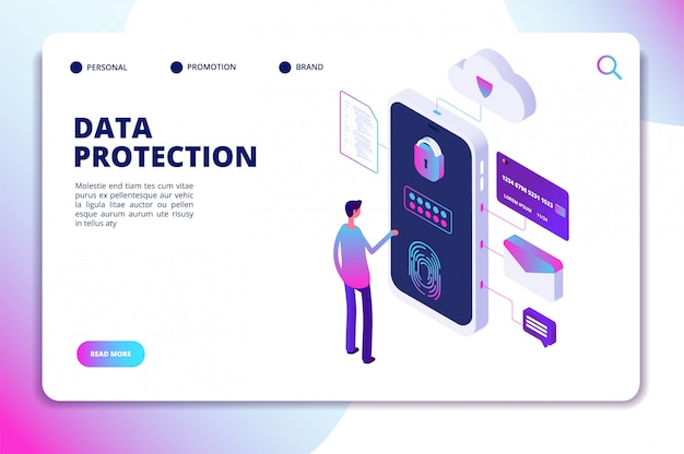 Modello di sito web isometrico di protezione dei dati