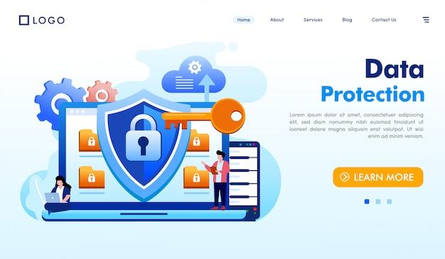 Vettore dell'illustrazione del sito web della pagina di atterraggio di protezione dei dati