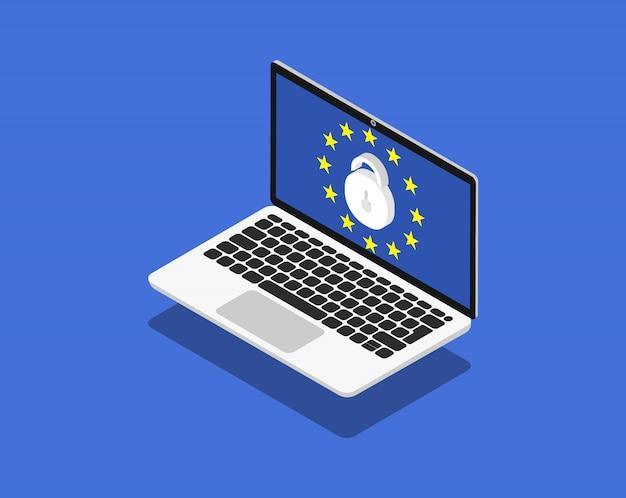 Protezione dei dati nel laptop. gdpr, tutela della privacy in isometria. pagine web moderne per siti web