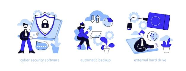 Insieme dell'illustrazione di concetto astratto di protezione e recupero dei dati
