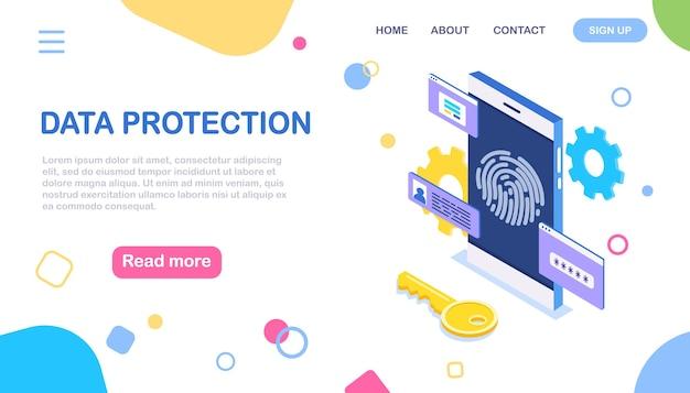 Protezione dati. scansiona l'impronta digitale sul telefono. sicurezza dello smartphone. identificazione biometrica