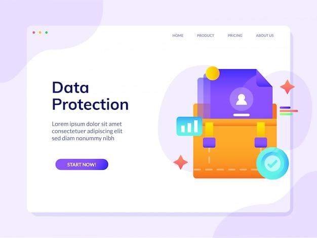 Pagina di destinazione del sito web di protezione dei dati