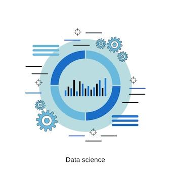 Illustrazione di concetto di vettore di stile di design piatto di scienza dei dati
