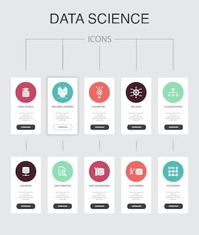 Data science infografica progettazione dell'interfaccia utente in 10 passaggi. machine learning, big data, database, icone semplici di classificazione