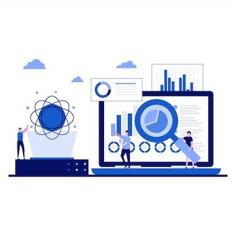 Scienza dei dati con tecnologie di archiviazione online e ricerche di mercato sulle previsioni finanziarie automatizzate di analisi web in design piatto