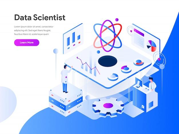 Scienziato di dati isometrico per pagina del sito web