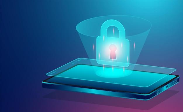 Il concetto di sicurezza dei dati protegge i dati da furti di dati e attacchi di hacker design piatto isometrico illustrazione