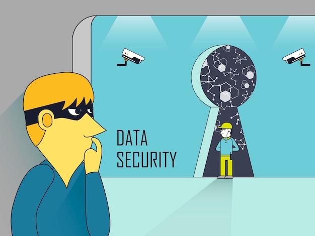 Concetto di sicurezza dei dati con furto e guardie di sicurezza in stile linea