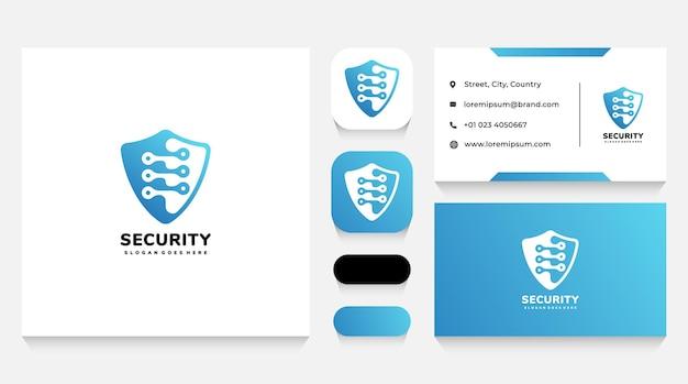 Modello e biglietto da visita del logo dello scudo per la sicurezza dei dati