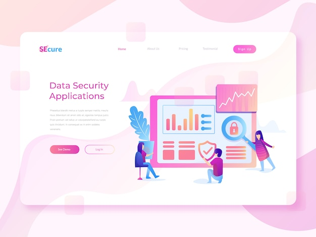 Illustrazione piana di web di sicurezza dei dati