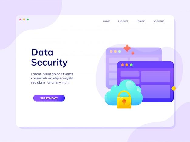 Modello dell'illustrazione di progettazione di vettore della pagina di destinazione del sito web di sicurezza dei dati