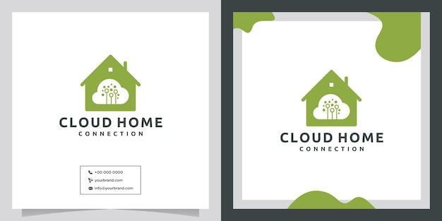 Progettazione del logo della nuvola domestica del cloud del server di dati