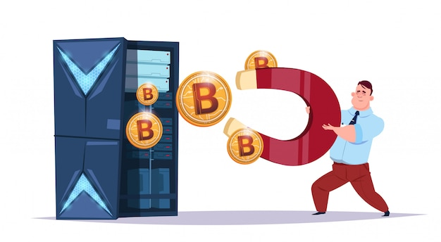 Centro di bitcoin per l'archiviazione dei dati con server e personale di hosting. concetto di valuta crittografica di supporto di comunicazione di estrazione mineraria del computer