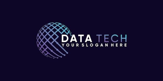 Ispirazione per il design del logo globale di data tech con uno stile unico di line art vettore premium
