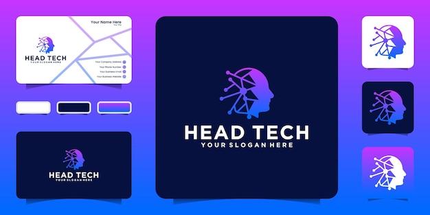 Ispirazione per il logo della testa della tecnologia dei dati e ispirazione per i biglietti da visita
