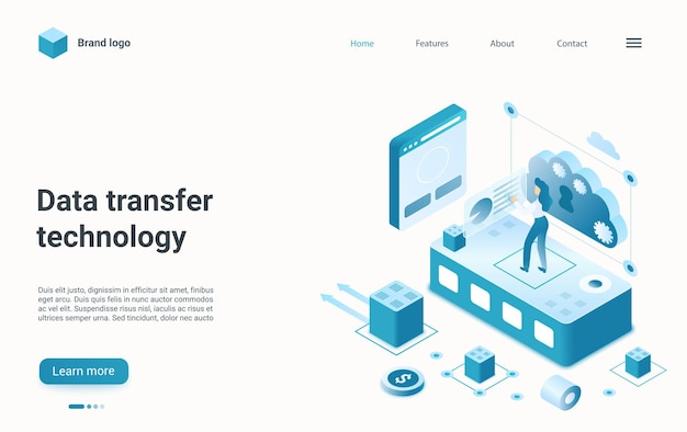 Database cloud della landing page isometrica della tecnologia internet di gestione del trasferimento dati
