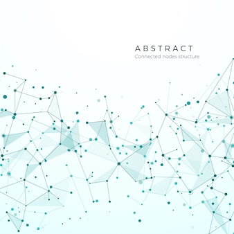 Concetto di visualizzazione dei dati. modello di nodo grafico. struttura di rete complessa e complessa. plesso futuristico astratto. particelle composte, maglia molecolare. illustrazione