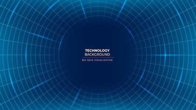 Rappresentazione di visualizzazione dei dati sfondo di tecnologia del flusso di informazioni con griglia di linee e cerchi