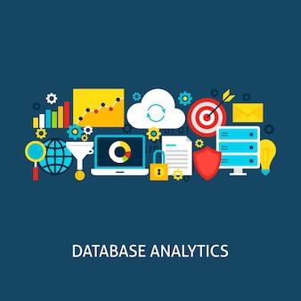 Concetto piatto di analisi del database. illustrazione di vettore di progettazione del manifesto. insieme di oggetti colorati di big data.