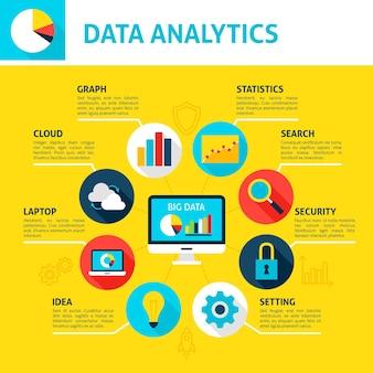 Infografica di analisi del database. illustrazione vettoriale di design piatto del concetto di big data.