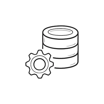 Database con icona di doodle di contorno disegnato a mano di ingranaggio. impostazioni del server di dati, concetto di configurazione del server