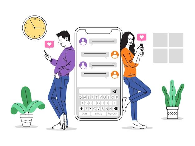 Data app chat illustrazione