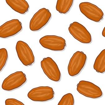 Date frutta seamless su uno sfondo bianco. illustrazione di vettore dell'icona del ramadan della frutta dei datteri freschi