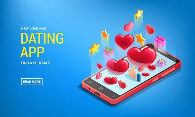 Banner per app di incontri, cellulare con cuori, incontri online, social network
