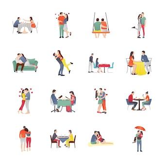 Set di icone di coppie di incontri