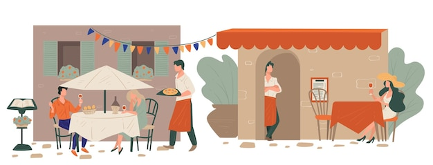 Incontri uomo e donna seduti sulla terrazza del ristorante italiano in attesa di pizza. personaggio femminile che beve vino da solo. cameriere che serve i clienti al tavolo, esterno festivo del caffè, vettore in appartamento