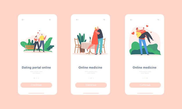 Modello di schermata di bordo della pagina dell'app mobile online del portale di appuntamenti. l'uomo e la donna camminano, relazioni amorose, stare insieme