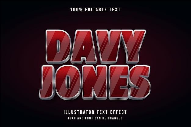 Davy jones, 3d testo modificabile effetto rosso gradazione grigio ombra stile