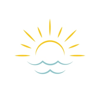 Alba sul mare sole icona agenzia di viaggi emblema concetto logo vettoriale template