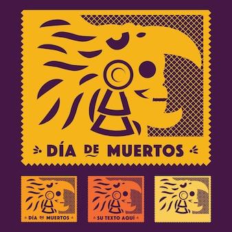 Day of the dead aztec warrior - ritagliare lo spazio della copia del set di carta