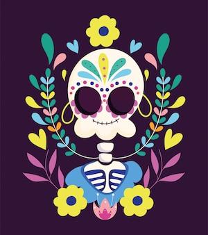 Giorno dei morti, catrina con celebrazione messicana tradizionale della decorazione degli orecchini dei fiori