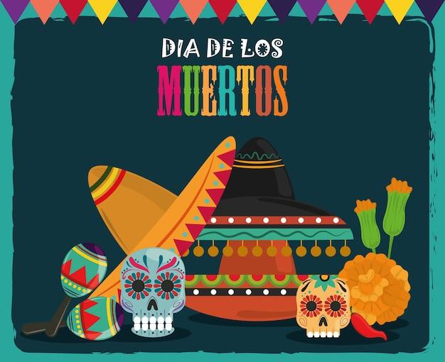 Giorno dei morti, teschi decorativi cappello fiori tradizionali, illustrazione vettoriale celebrazione messicana