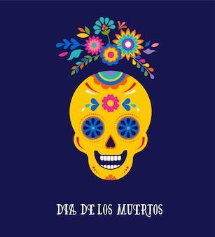 Giorno dei morti dia de los muertos sfondo banner e concetto di biglietto di auguri con teschio di zucchero