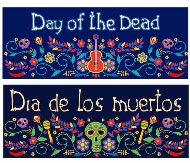 Striscioni del giorno dei morti dia de los muertos con fiori messicani colorati poster delle vacanze fiesta