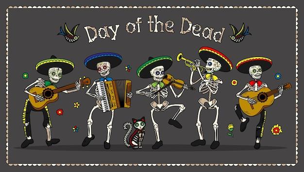 Volantini per invito a una festa in costume del giorno dei morti dia de los muertos
